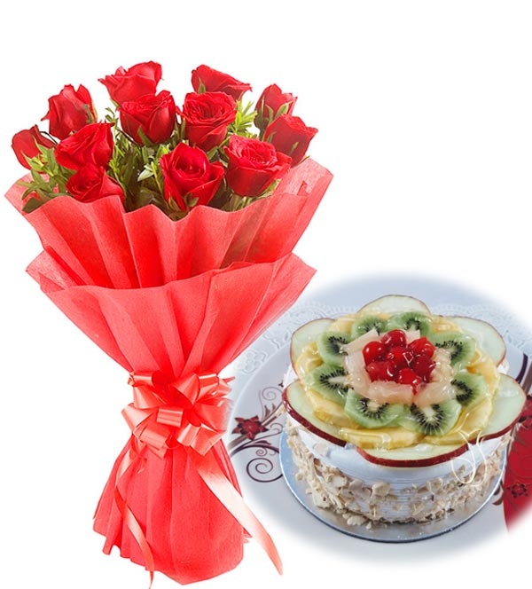 Red Rose & Fruit Cake cake delivery Delhi