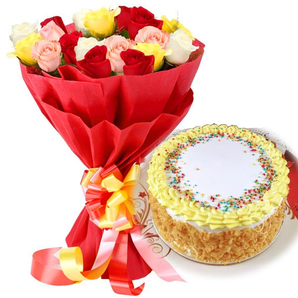Butter Scotch Cake & Mix Roses cake delivery Delhi