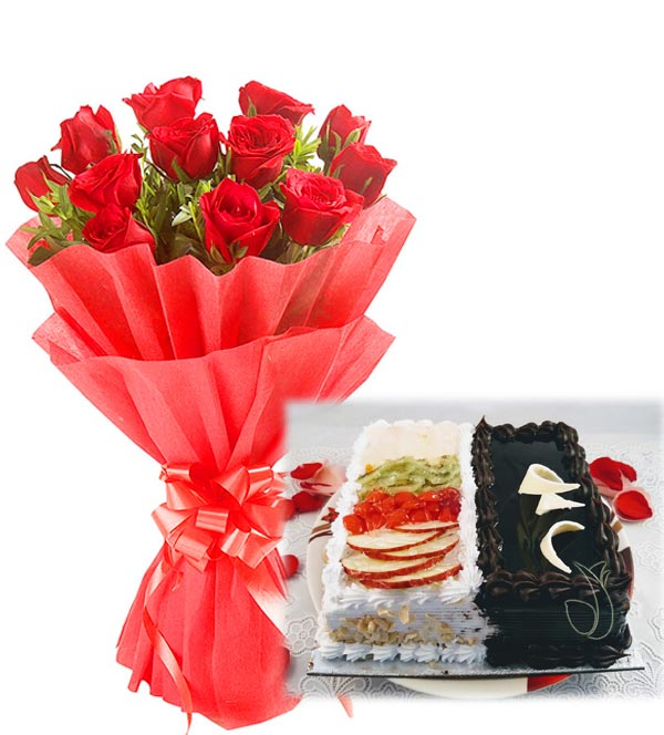 Red Rose Bunch & 2 in 1 Cake cake delivery Delhi