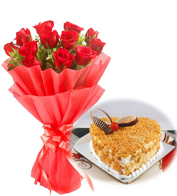 Red Roses & Heartshape Butter Scotch Cake cake delivery Delhi