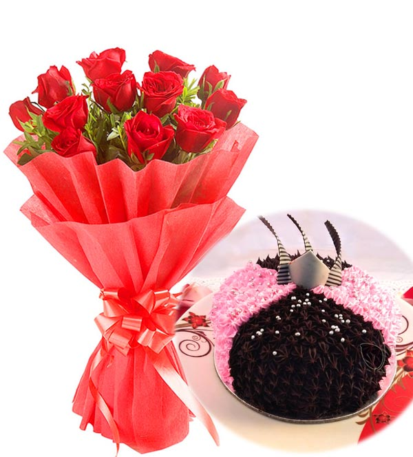 Red Roses Bunch & 1 KG Choc-Strawberry Cake  cake delivery Delhi