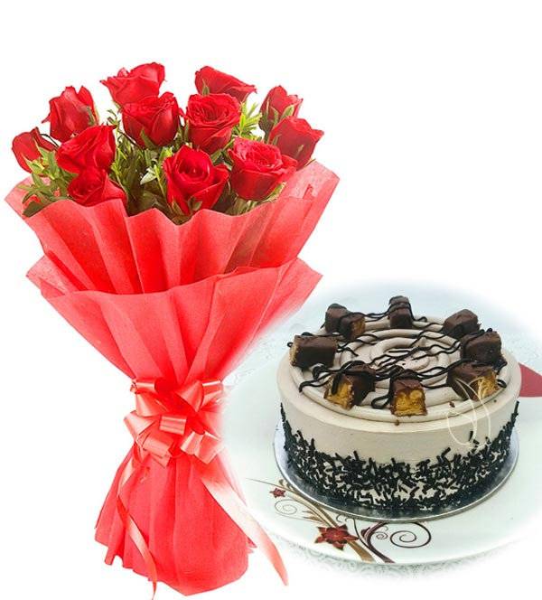 Red Roses & Chocolate Snicker Cake cake delivery Delhi
