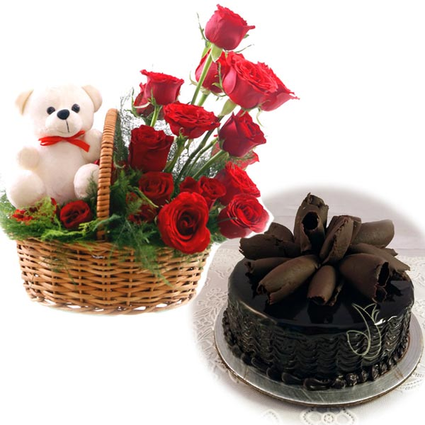 Rose Basket & Chocolate Cake cake delivery Delhi