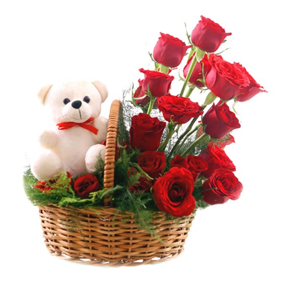 Rose Basket & Teddy  cake delivery Delhi