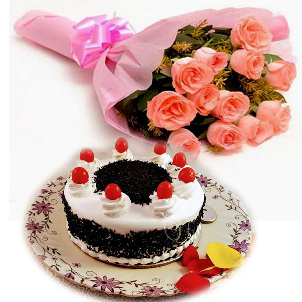 Pink Roses & Black Forest Cake cake delivery Delhi
