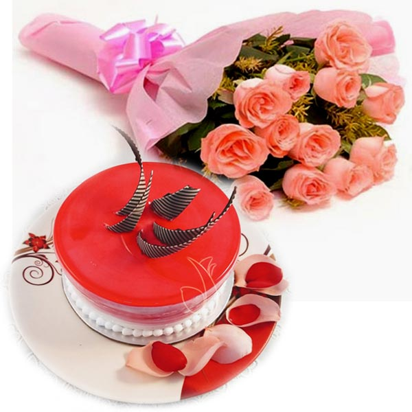 Pink Roses & Strawberry Cake cake delivery Delhi