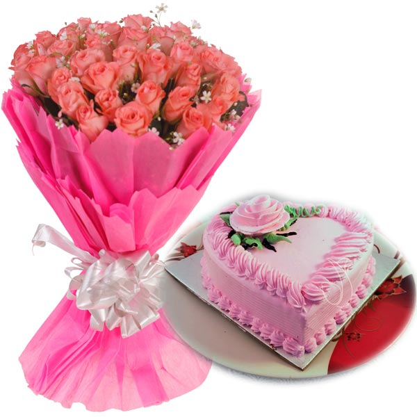 Pink Roses & Heartshape Strawberry Cake cake delivery Delhi