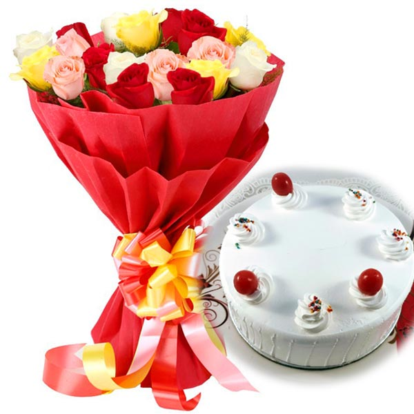 20 Mixed Roses with 1kg Pineapple Cake cake delivery Delhi