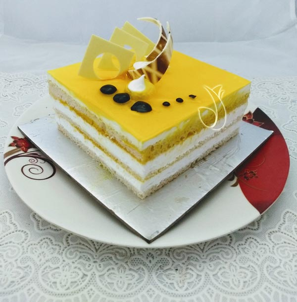 Pineapple Square Cake (Less Creamy) cake delivery Delhi