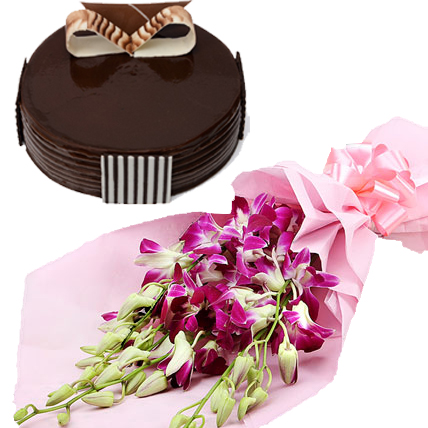 Orchid Bunch & Chocolate Truffle Cake cake delivery Delhi