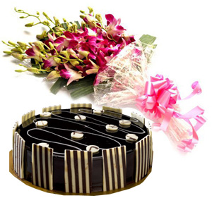 Special Truffle Cake & Orchid Bunch cake delivery Delhi