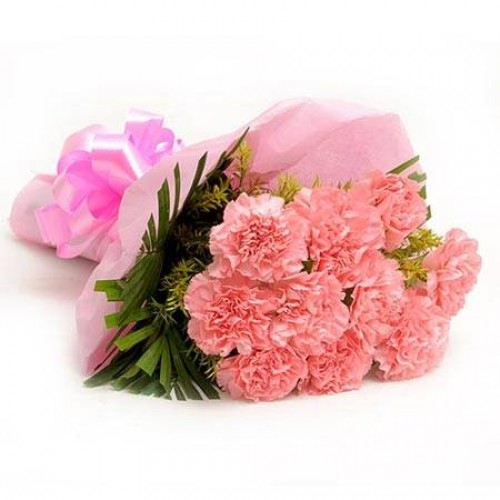 Baby Pink Carnation Bunch cake delivery Delhi