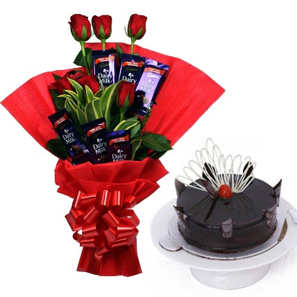 Red Roses & Chocolate & Cake cake delivery Delhi