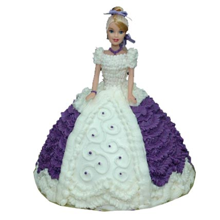 2kg Purple Dress Doll Cake  cake delivery Delhi