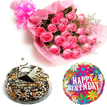 Pink Roses with Cake and Balloon cake delivery Delhi