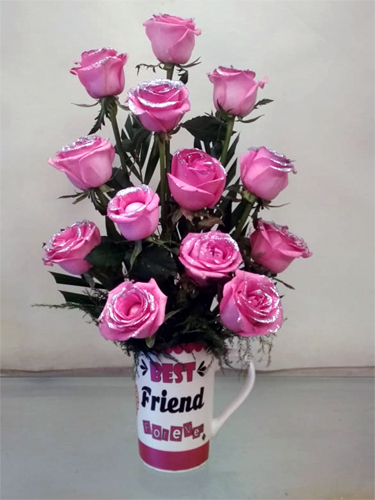 Pink Roses in Coffee Mug (Only For Delhi) cake delivery Delhi