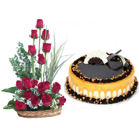 Roses Basket with Cake cake delivery Delhi