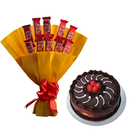 Bunch of 10 Kit Kat small with 1/2 kg truffle cake cake delivery Delhi