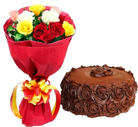 Mix Roses with Choco Roses Cake cake delivery Delhi