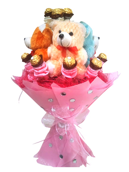 Bouquet of Teddy with Rocher chocolate cake delivery Delhi