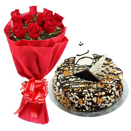 Red Roses with Nutty Delight Cake cake delivery Delhi