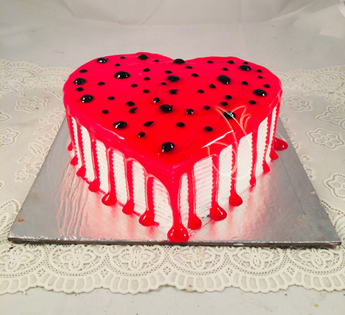 1Kg Heart Shape Strawberry Jelly Cake cake delivery Delhi
