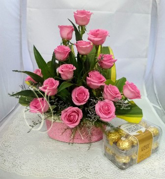 Pink Rose Basket & Box of Ferrero Rocher cake delivery Delhi