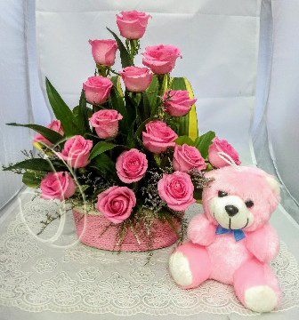 Pink Rose Basket & Small Teddy cake delivery Delhi