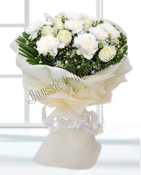 Bunch of 20 White Flowers cake delivery Delhi