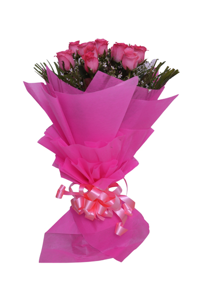 Bunch of 15 Dark Pink Rose cake delivery Delhi