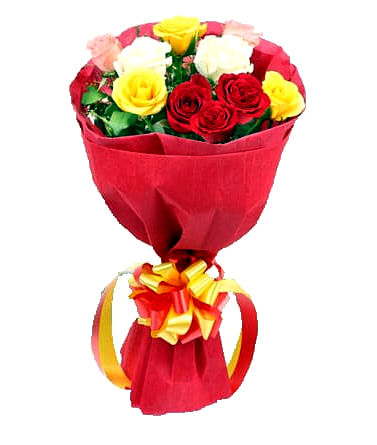 Bunch of 12 Mix Rose in Red Paper cake delivery Delhi
