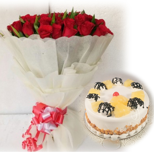 Red Rose Pineapple Cake Delivery Delhi