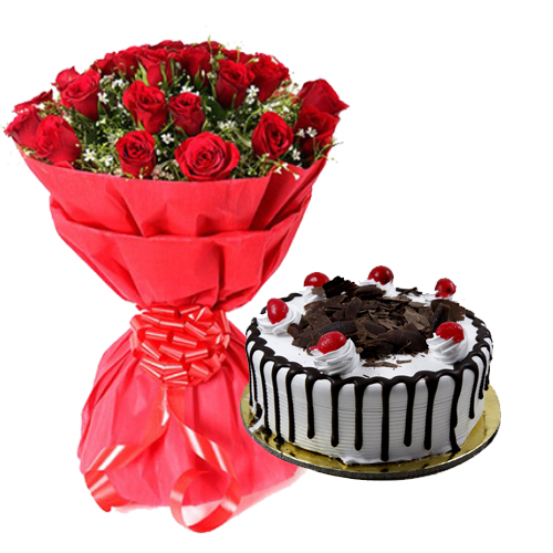 Bunch of Red Rose & Black Forest Cake cake delivery Delhi