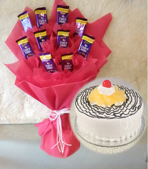Dairy Milk Chocolate Bouquet & Pineapple Cake cake delivery Delhi