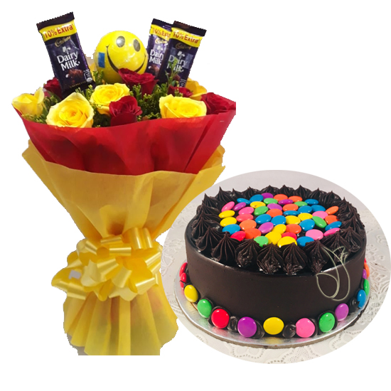 Mix Roses Chocolate & Gems Cake cake delivery Delhi