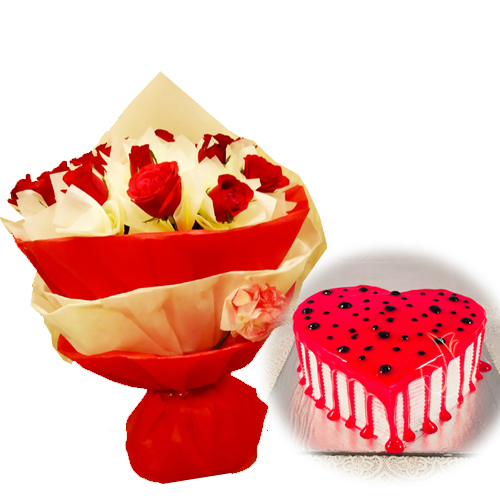 Red Roses & HeartShape Cake cake delivery Delhi