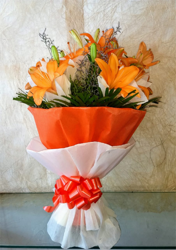 Bunch of Orange Lillys cake delivery Delhi