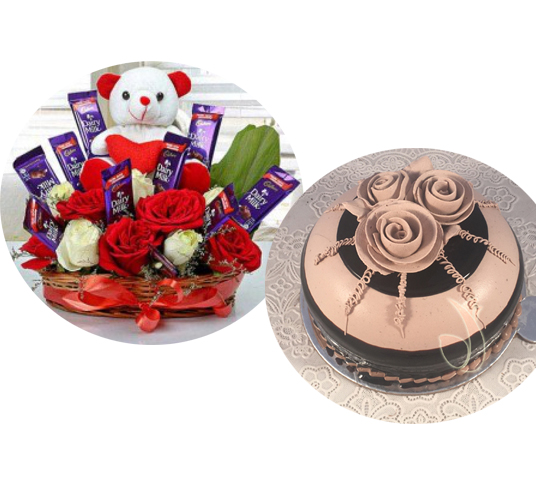 Arrangement & Cake cake delivery Delhi