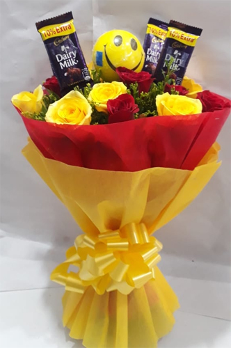 Roses & Chocolate Bunch cake delivery Delhi