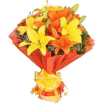8 Mix Asiatic Lilliums in Orange Paper Packing cake delivery Delhi