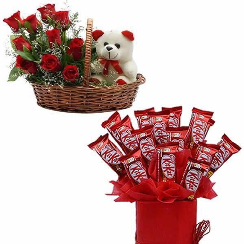 Roses Teddy & Chocolate Arrangement cake delivery Delhi