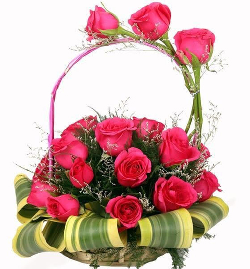 Round Basket of Pink Roses cake delivery Delhi