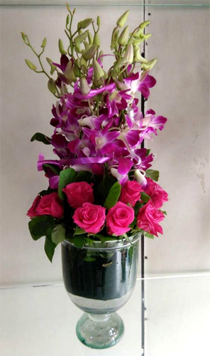 Vase Arrangement of Orchid & Roses cake delivery Delhi