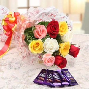 Mix Roses Bunch & Dairy Milk Chocolate cake delivery Delhi
