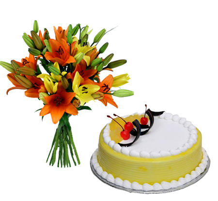 Mixed Lilly with Pineapple Cake cake delivery Delhi