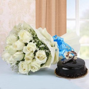 Bunch of White Roses & Truffle Cake cake delivery Delhi