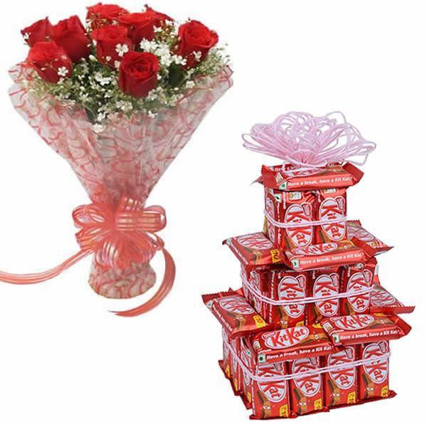 Kitkat Tower & Red Rose Bunch cake delivery Delhi