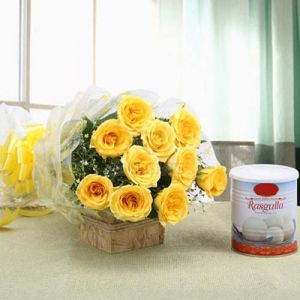 Yellow Rose & Rasgulla Pack cake delivery Delhi