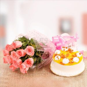 Pink Rose & Butter Scotch Cake cake delivery Delhi