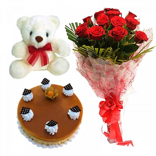 Red Rose & Cake & Teddy cake delivery Delhi